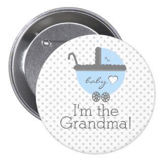 Blue Carriage Baby Shower Grandma 3 Inch Round Button