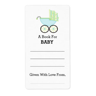 Blue Carriage Boy Baby Shower Bookplate