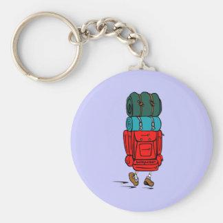Blue Cartoon Backpacker Hiker Keychain