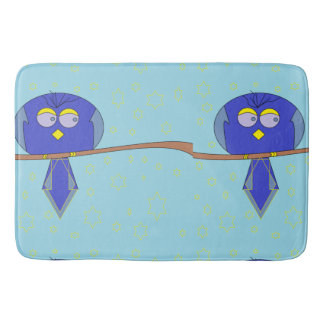 blue cartoon bird bathmat