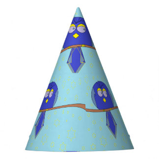 blue cartoon bird party hat