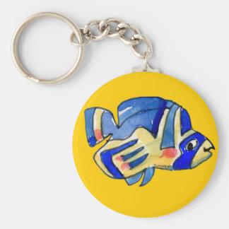 Blue Cartoon Butterfly Fish Basic Round Button Keychain