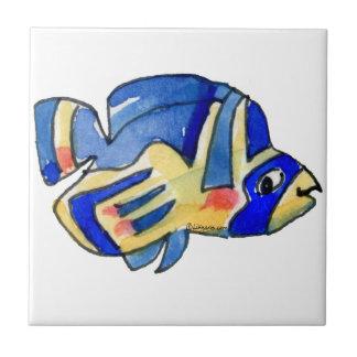 Blue Cartoon Butterfly Fish Ceramic Tile