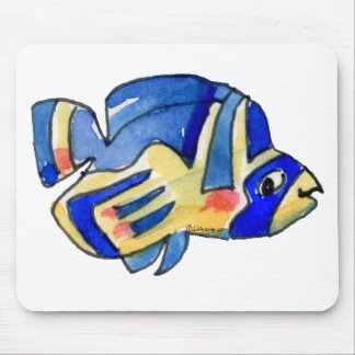 Blue Cartoon Butterfly Fish Mouse Pad