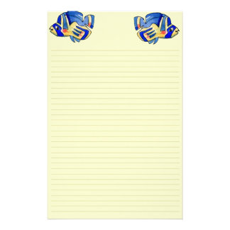 Blue Cartoon Butterfly Fish Stationery Design