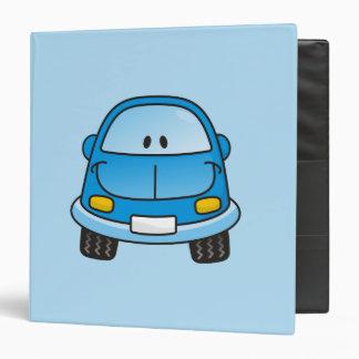 Blue cartoon car 3 ring binders