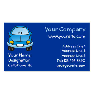 Blue cartoon car business card
