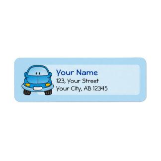 Blue cartoon car return address label