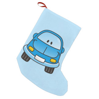 Blue cartoon car small christmas stocking