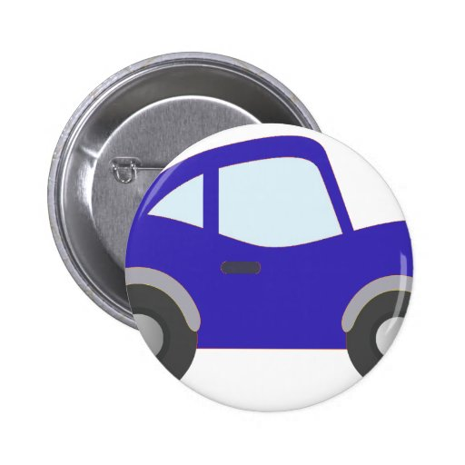 Blue Cartoon Coupe Car Pinback Button
