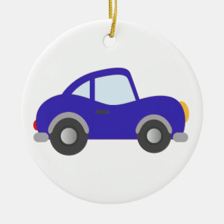 Blue Cartoon Coupe Car Round Ceramic Ornament