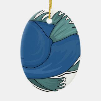 Blue Cartoon Fish Ceramic Ornament