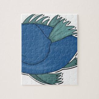 Blue Cartoon Fish Jigsaw Puzzle