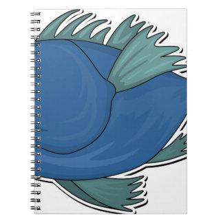 Blue Cartoon Fish Notebook