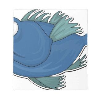 Blue Cartoon Fish Notepad