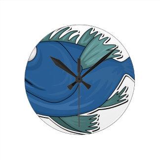Blue Cartoon Fish Round Clock
