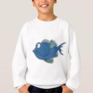 Blue Cartoon Fish Sweatshirt