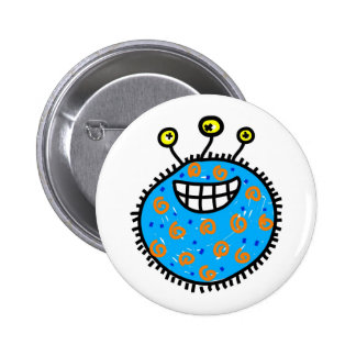 Blue Cartoon Germ 2 Inch Round Button