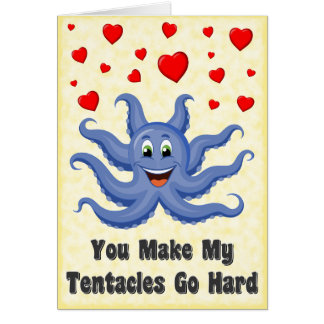 Blue Cartoon Octopus Hearts Funny Valentines Day Greeting Card