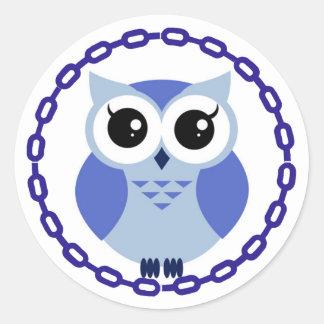 Blue cartoon owl inside blue ring classic round sticker