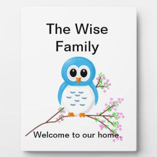 Blue Cartoon Owl on a Branch Plaque