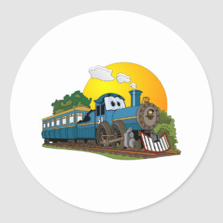 Blue Cartoon Passenger Steam Engine Classic Round Sticker