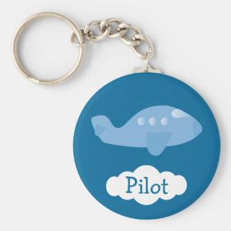 Blue Cartoon Plane Customizable Pilot Keychain
