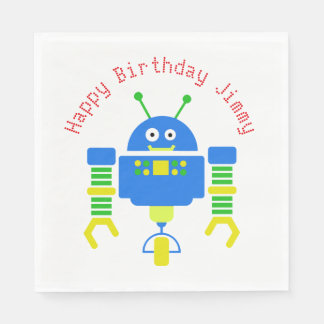 Blue Cartoon Robot Birthday Party Paper Napkins