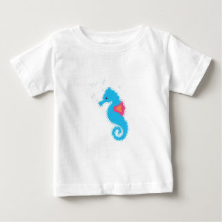 Blue Cartoon Seahorse Baby T-Shirt