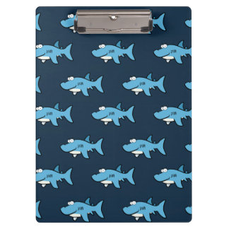 Blue Cartoon Shark Pattern Clipboard