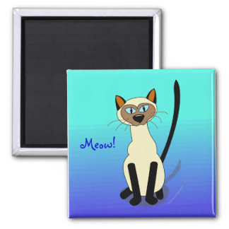 Blue Cartoon Siamese Cat  Meow Template Magnet