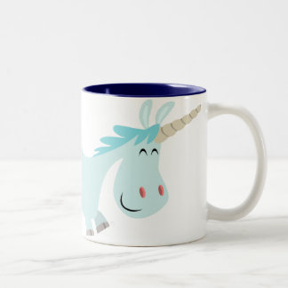 Blue Cartoon Unicorn  mug
