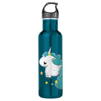Blue cartoon unicorn with stars 24oz water bottle