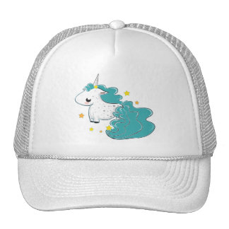 Blue cartoon unicorn with stars hat
