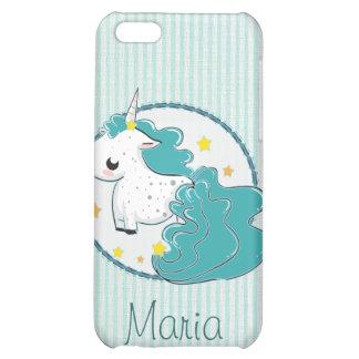 Blue cartoon unicorn with stars iPhone 4 iPhone 5C Covers