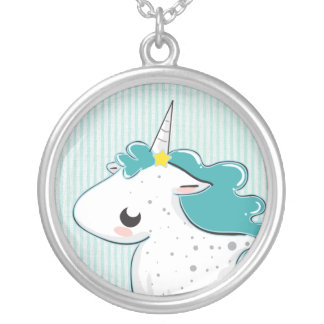 Blue cartoon unicorn with stars Necklace