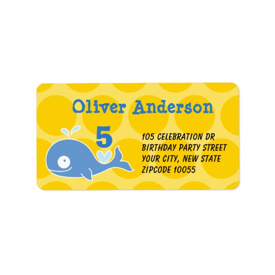 Blue Cartoon Whale Kid's Birthday Address Labels