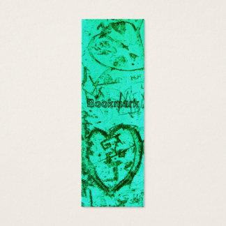 Blue Carved Graffiti Heart BOOKMARK Mini Business Card