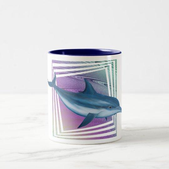 Blue Cascade Dolphin Two-Tone Coffee Mug