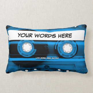 Blue Cassette Tape Personalized Lumbar Pillow