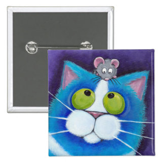 Blue Cat and Mouse Button