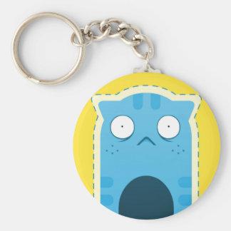 Blue Cat Button Keychain