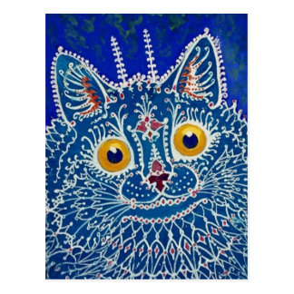 Blue Cat by Louis Wain Postcard