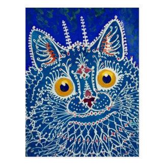 Blue Cat by Louis Wain Postcard
