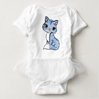 Blue Cat Cartoon Baby Bodysuit