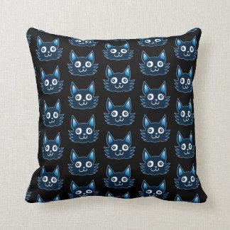 blue cat cartoon style vector illustration throw pillow