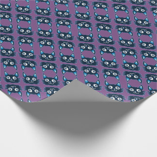 blue cat cartoon style vector illustration wrapping paper