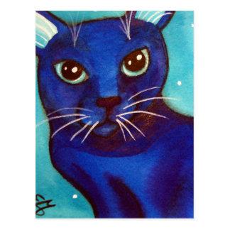 Blue Cat Full Moon Postcard