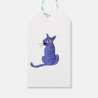 Blue cat pack of gift tags