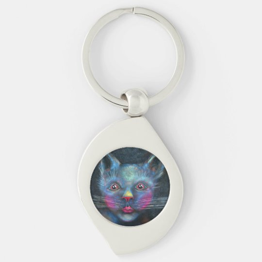 Blue Cat Silver-Colored Swirl Keychain